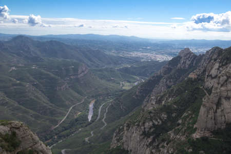 Spain. Kataloniya.Gory an array and The monastery Montserrat. Landscapes and Attractions photo