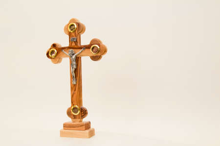 holy land: Cross from the Holy Land on a white background. Stock Photo