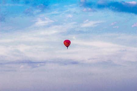 luft: Ballon fliegen hoch gegen den blauen Himmel. Stock Photo