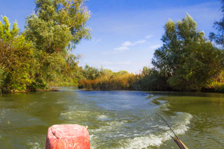 boat motor: River Landscape of the river Volga,  from the stern of the boat motor Stock Photo