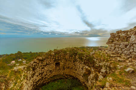 loopholes: One of the towers of the fortress Cultural Historical Complex Anakopia Fortress Republic of Abkhazia