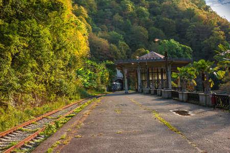 peron: Travel Republic of Abkhazia  Abandoned Hall railway station near the tunnel