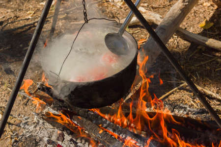 fish fire: A pot with fish soup cooked on a tripod over a fire