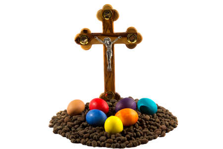 easter cross: Cross and Easter set isolated on white background