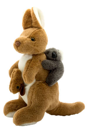 plush toy: Soft plush toy in the form of a kangaroo with two cubs