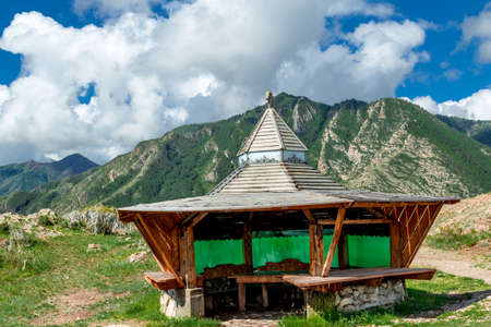 without windows: Detached wooden structure at the foot of the Altai Mountains in the Valley