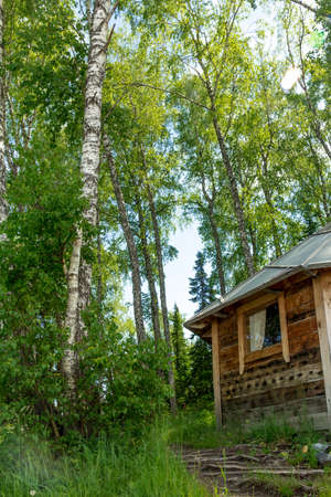 without window: Farm at the foot of the Altai Mountains
