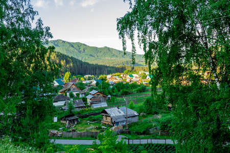 altai mountains: Farm at the foot of the Altai Mountains