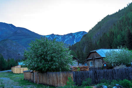 altai mountains: A small village in a mountain valley at the foot of the Altai Mountains