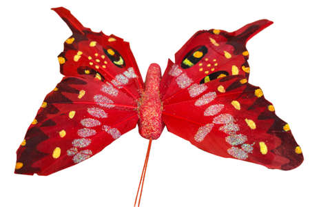 Butterfly made of paper and soaked with lacquer on a white background Stock Photo