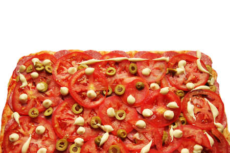 quick snack: Pizza with tomatoes and olives on a white background Stock Photo