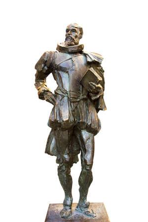 don quijote: Monumento a Don Quijote aislado en el fondo blanco Foto de archivo