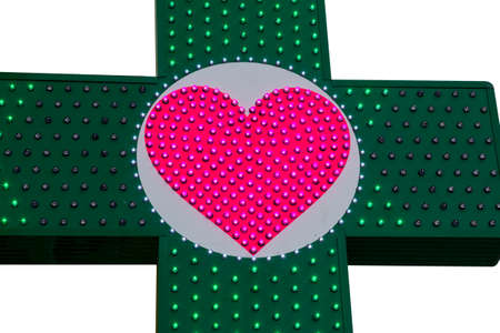 green cross: Green Cross with lamps on a white background isolated
