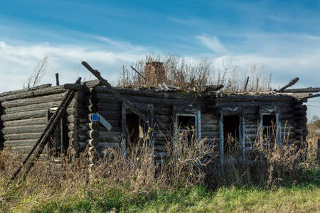 Burned wooden house