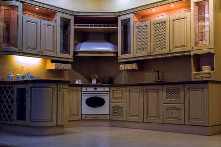 Modern kitchen set with diode lighting mezzanines and extractor