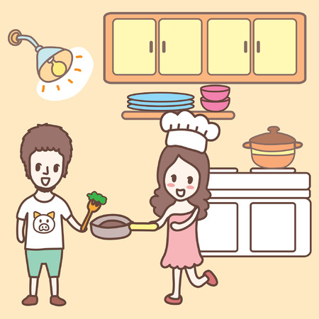 couple cooking together cartoon
