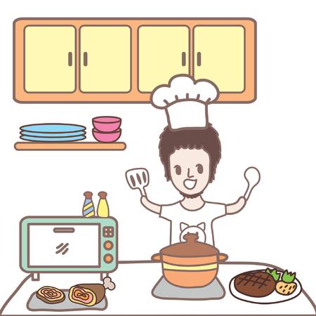 台所で男の料理