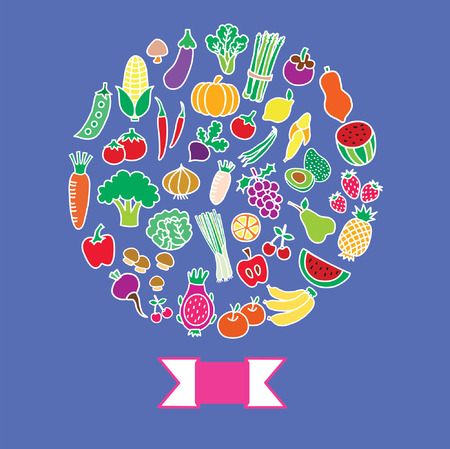 fruit and vegetable cartoon collection Vector