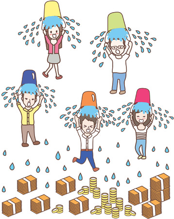 lateral: cartoon ice bucket challenge vector