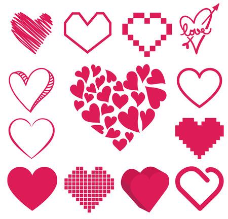 corazon: conjunto de vectores corazón Vectores