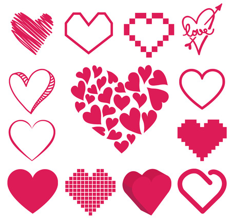 valentine passion: set of heart vector Illustration