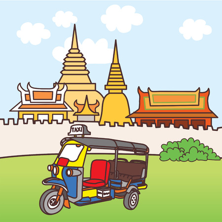 タイのランドマークとシンボル セット  イラスト・ベクター素材