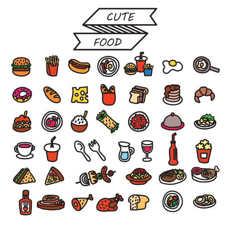 set of cute food