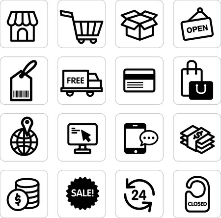shopping icon set vector Vector