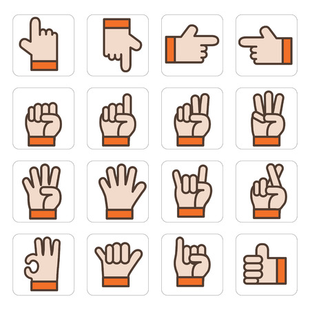 icon hand set vector Illustration