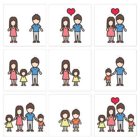 家族のベクトル アイコンを設定  イラスト・ベクター素材