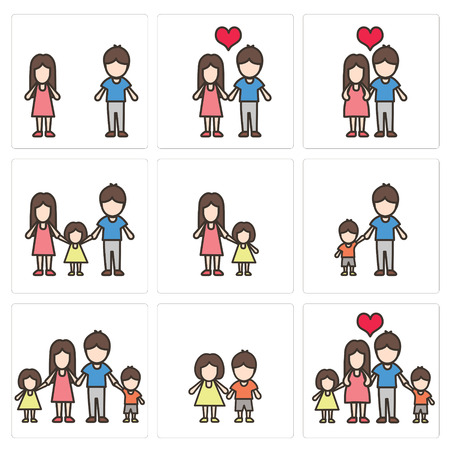 only baby girls: vector icon set of family
