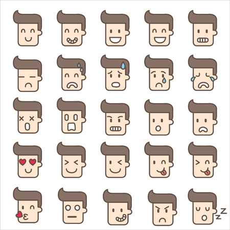 icons of emotion man faces Vector