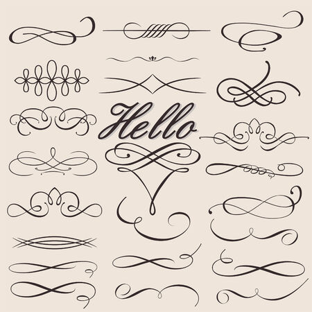 ornamental scroll: vector set calligraphic design elements t