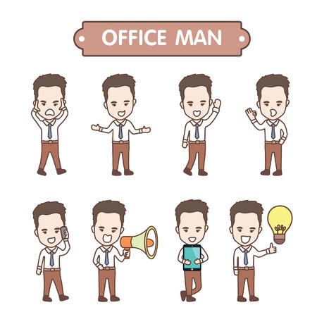 かわいいキャラクターのビジネスマンやオフィス ワーカーのエ