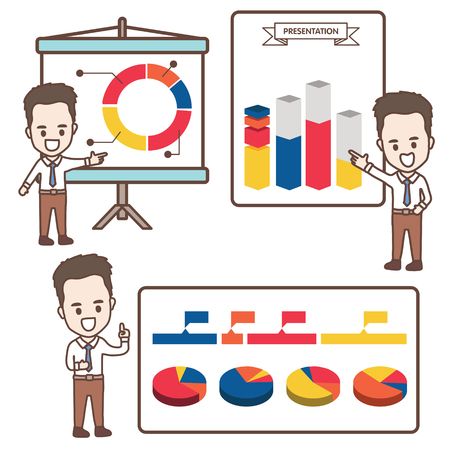 インフォ グラフィックと漫画のビジネスマンのプレゼンテーション