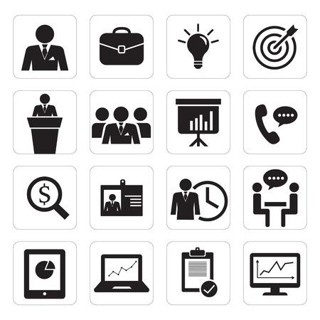 training computer: set of icon business Illustration