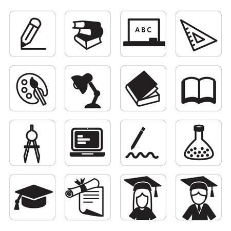 教育のアイコンのセット  イラスト・ベクター素材
