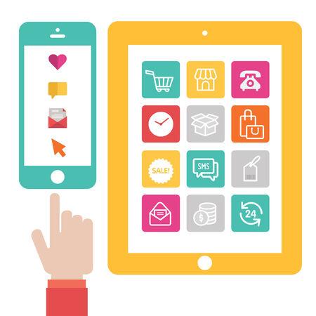 フラット デザインのオンライン ショッピング