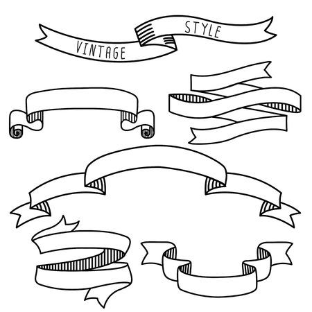 ヴィンテージ ラベル デザイン要素バナーとリボン
