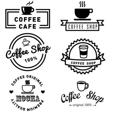 コーヒー バナー バッジとラベル