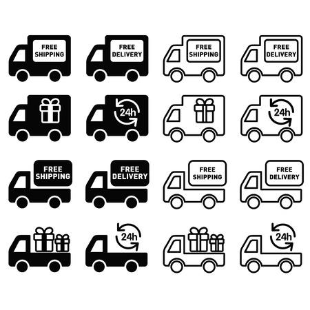 overnight: set di icone di consegna di trasporto in bianco e nero Vettoriali
