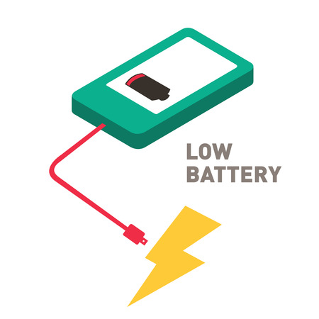 low battery: low battery smartphone flat design Illustration