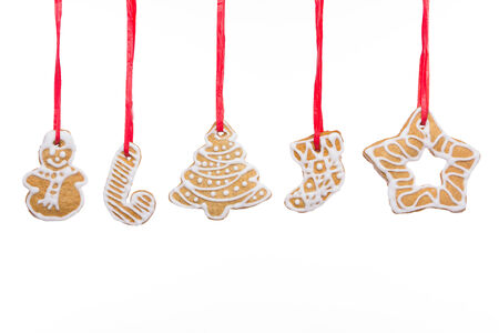 Christmas homemade gingerbread cookies isolated on white Stock fotó