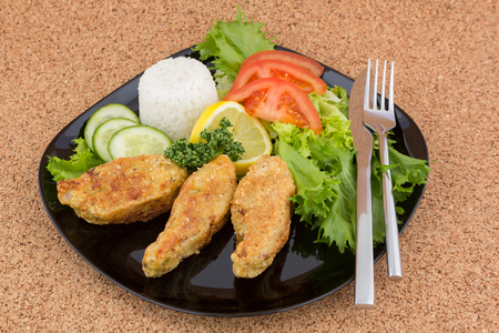 Baked fish pieces with rice and vegetables Reklamní fotografie