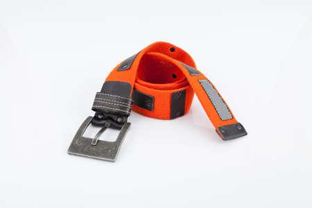 Orange belt for man on white background. Foto de archivo
