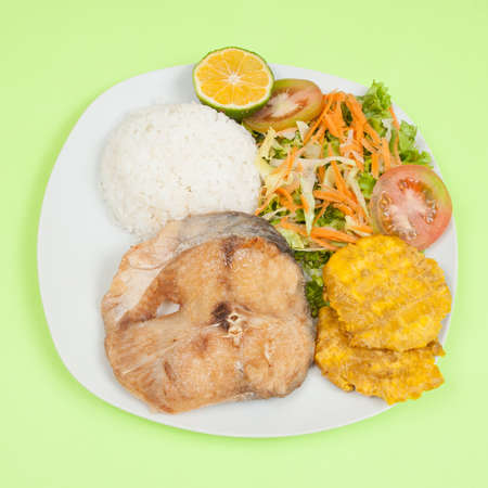 Fried fish; tasty fried catfish slice with rice and salad.