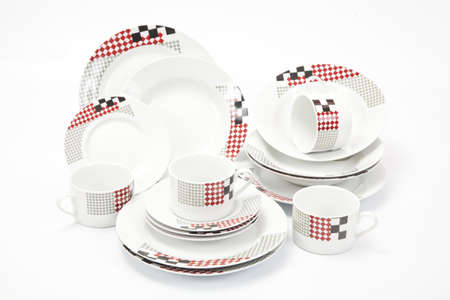 White modern dishes with geometric shapes