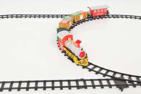 Christmas Toy Train Isolated Over White Background. Stock Photo