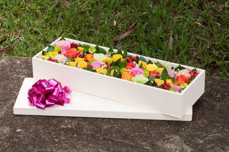 Beautiful Flower Arrangement In Wooden Box; Spectacular Gift.