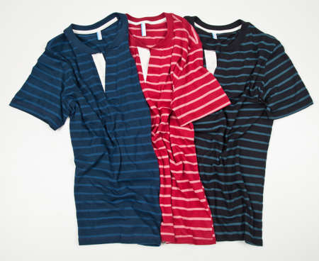 Set Of Three Striped Shirts For Men On White Background.